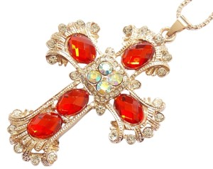 Betsey Johnson Betsey Johnson Necklace Red Crystal Cross J1090