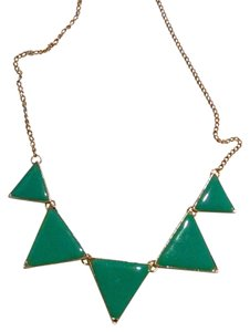 New Triangle Bib Necklace & Earrings Teal Gold J1091