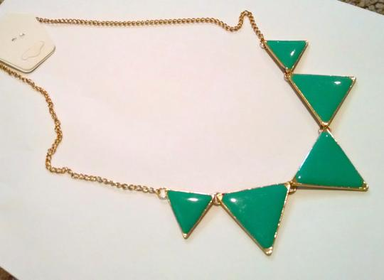 Other New Triangle Bib Necklace & Earrings Teal Gold J1091