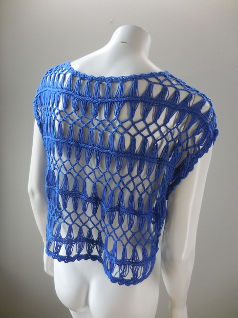 Willow & Clay Open Weave Lace Lacey Summer Mesh 1909 Top Blue