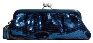 Coach Blue/Teal with Silver Hardware Clutch