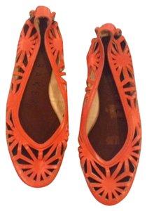 Ted Baker Ballerina Cut Out Leather Red Flats