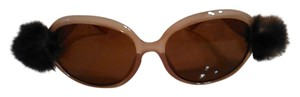 Tracey Vest Repurposed mink embellished nude sunglasses