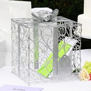 Cathy's Concepts Silver Sparkle Glitter Metal Card Box