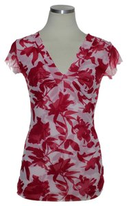 Sweet Pea by Stacy Frati Stretch Knit Mesh Top Red Multi
