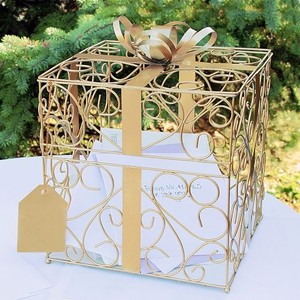 Cathy's Concepts Gold Metal Card Box Reception Decoration