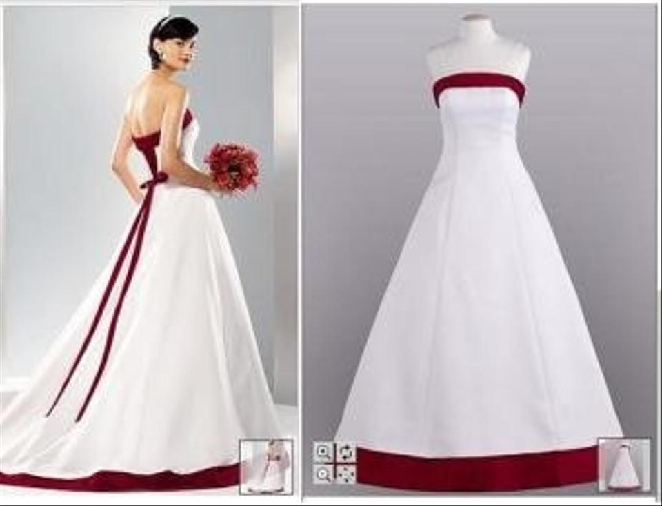 David\'s Bridal White Silk Satin Apple Red and Corset Modern Wedding ...