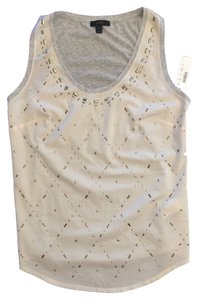 J.Crew Studded Metallic Knit Top cream