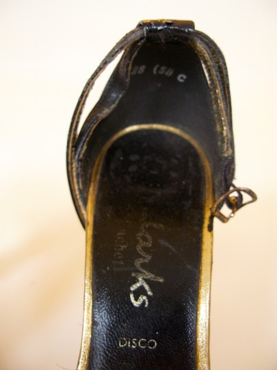Clarks 1970s Seventies Glam Disco Lucite Acrylic Leather Vintage Heels Studio 54 Saturday Night Fever Black & Gold Sandals