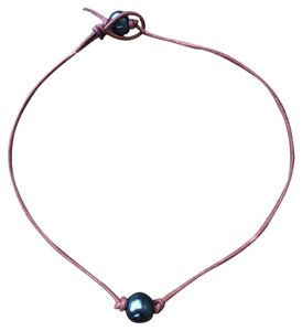 Mel Belle Designs Peacock Pearl Leather Necklace