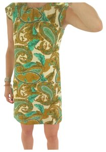 MILLY short dress Green, gold, cream on Tradesy