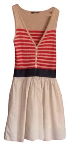 Theme short dress Red, tan, navy blue. on Tradesy