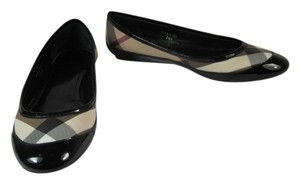 Burberry House Check Leather Ballet Black Flats