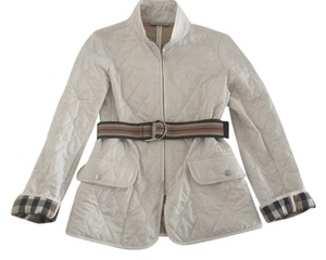 Burberry London Belted- White with Burberry pattern inside Jacket