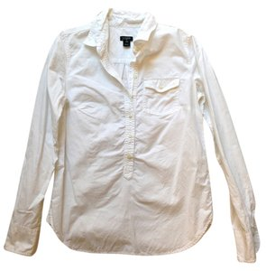 J.Crew Popover Workwear Casual Button Down Shirt White
