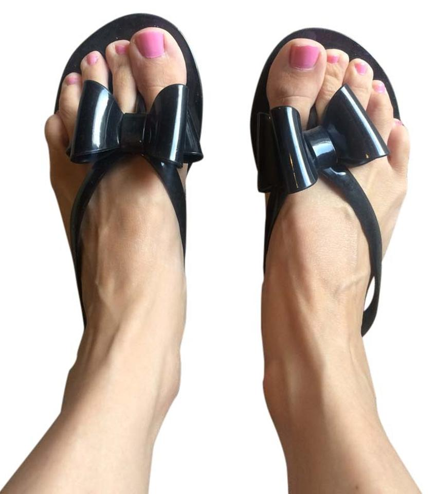 f66f46d43 Express Black Bow Jelly Sandals Size US 7 - Tradesy