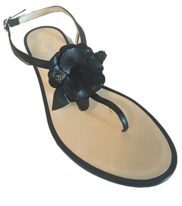 Chanel Camellia Thong Black Sandals