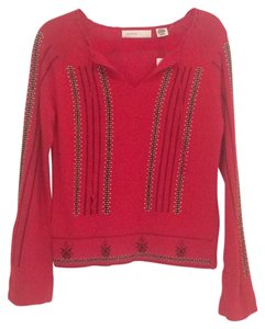 Anthropologie Holiday Sleeping On Snow Soft Embroidered Emboridery Crochet Drawstring Fall Sweater