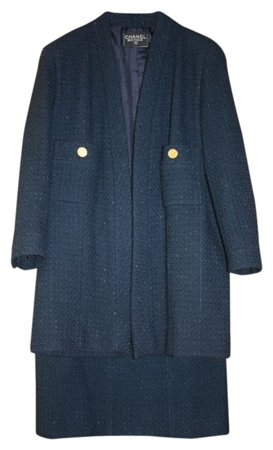 Item - Teal Blue Wool Boucle' Classic Style - Timeless Skirt Suit Size 10 (M)