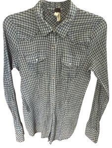 Free People Plaid Button Down Button Down Shirt Blue
