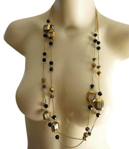 Other Indie Boho Faceted Black Bronze Crystal Chain Necklace