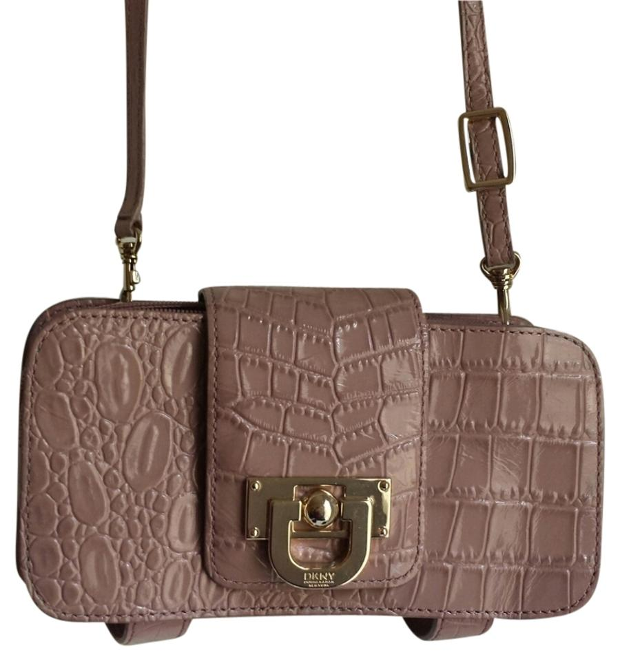 94cb104fde DKNY Croc Embossed Pastel Plum Patent Leather Cross Body Bag - Tradesy
