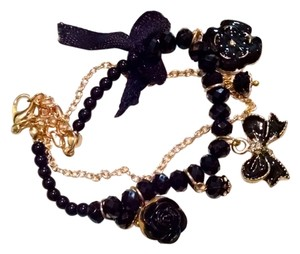 Other New Black Gold Charm Bracelet Flower Bow J1094