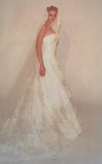 Light Ivory Silk Organza Alencon Lace Low Back and Aline Strapless Traditional Dress Size 8 (M)