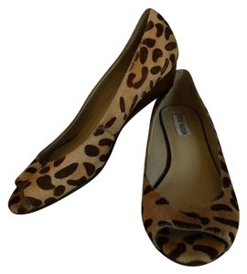 8f714a6d48a Steve Madden Animal Print Heels Wedges Summer Peep Toe Heels Brown Wooden  Heel Brown Wedges Brown