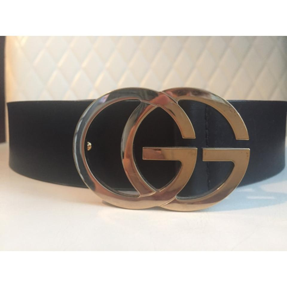ffa7f05ad03c Gucci Gucci GG Running Light Gold Tone Buckle Black Leather Belt - Style N.  73919. 1234567891011