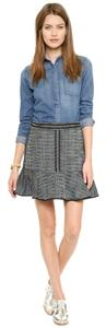 Madewell Tweed Black And White Piped Mini Skirt Grey