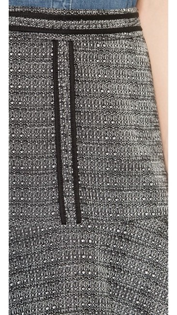 Madewell Tweed Mini Black And White Lara Piped Mini Skirt Grey