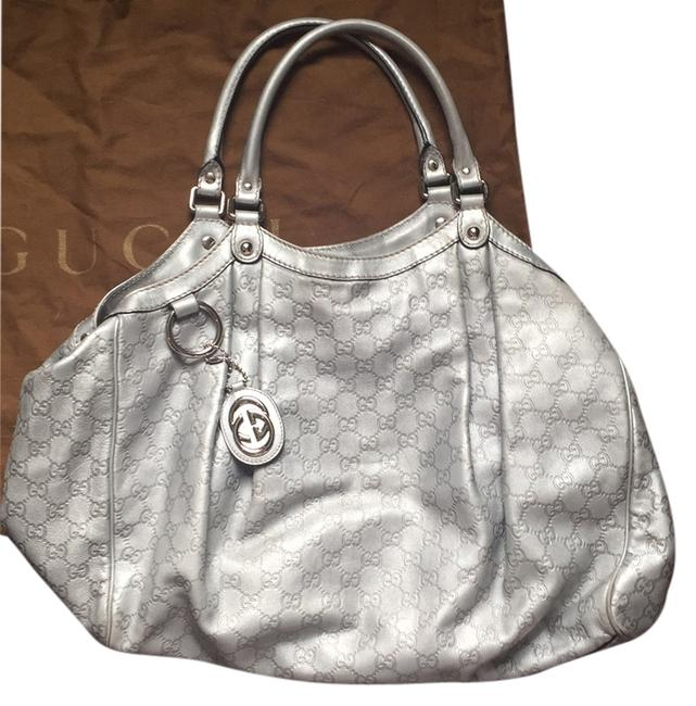 Item - Classic G Pattern Silver Leather Satchel