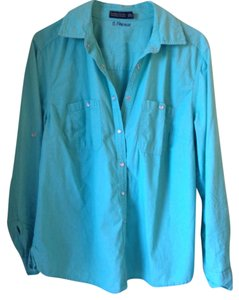 Faded Glory Basic Plus-size Snap Western Button Down Shirt Sea green