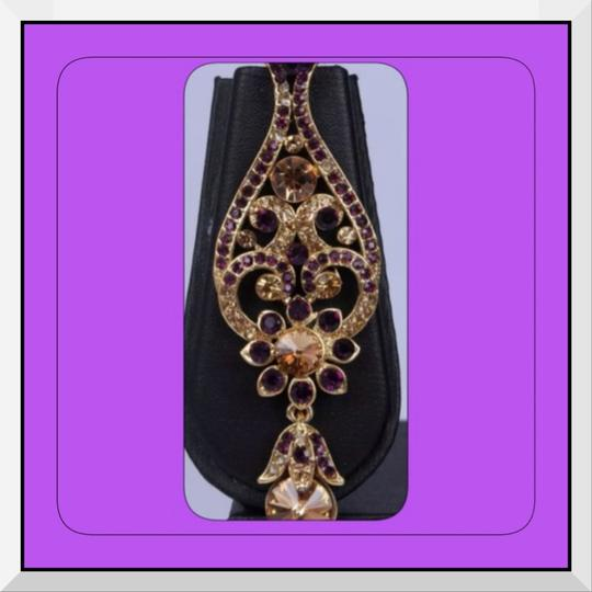 Indian Boutique NEW Amethyst & Gold Authentic Indian Jewelry Set Necklace & Earrings