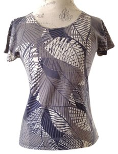 Jones Wear Knit Leaf Print Top Gray Green