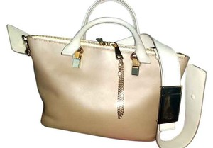 Chloé Chloe Leather Tote in Pearl Grey and Silver Gold Metal Accents