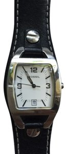 Fossil Fossil Black Leather and Silver Watch