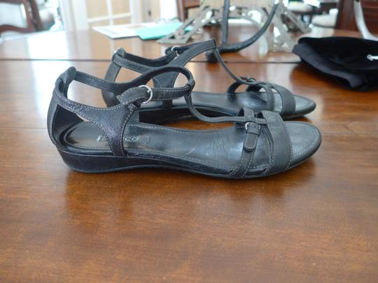 Ecco T-strap Leather Black Sandals