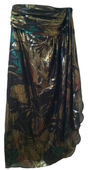 Item - Gold Black Green Silk Mid-length Cocktail Dress Size 10 (M)