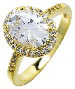 Oval Halo White Sapphire 14k Gold Engagement Ring