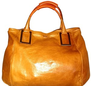 Chloé Chloe Leather Travel Tote in Caramel with Orange Handles