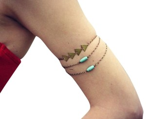 Turquoise Traingle Arm Multi-Layered Bangle Charm Bracelet.