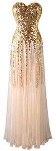 Angels Fashion Sweetheart Gold Gown Sequins Chiffon Peach Prom Evening Gown Special Occasion Quinceaera Bridal Satin Princess Dress