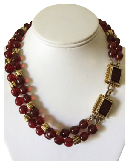 Chanel Chanel Rare Vintage Red Gripoix Bead Necklace