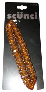 Scuni Scuni stretch headband with orange/amber beads