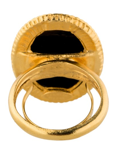 Kenneth Jay Lane Kenneth Jay Lane Gold Tone Cocktail Ring with Black ornament