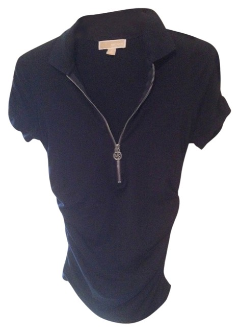 Item - Navy Blue with Silver Zipper Tee Shirt Size 8 (M)