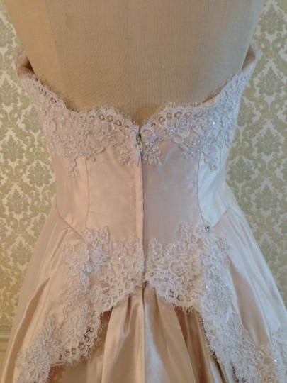 Galina Ivory White Rose Quartz Lace Silk Shantung Raw Silk 1153 Strapless Aline Tulip Ruffle Back Vintage Dress Size 8 (M)