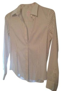 Brooks Brothers Button Down Shirt White pinstripe